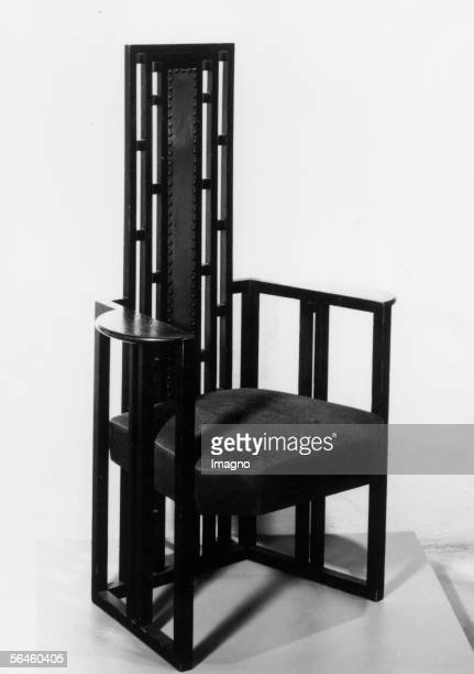 Chair for the studio of Gustav Klimt in Vienna 8th district Josefstaedter Strasse 21 by the Wiener Werkstaette 1905 Oak wood black stained white...