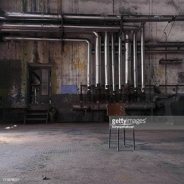 Chair in an abandoned factory, Istanbul, Turkey