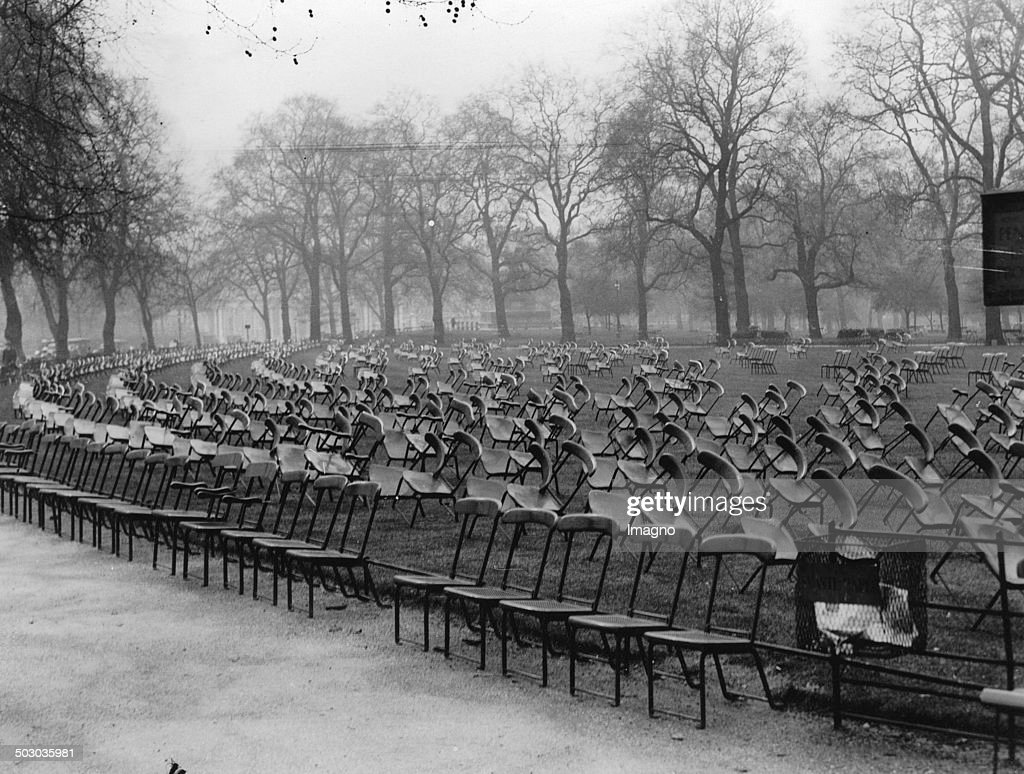 Chair In Hyde Park (Stanhope Gate). About 1935. Photograph. : News Photo