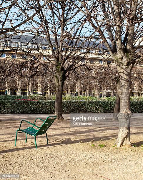 chair in le palais royal gardens - palais royal stock photos and pictures