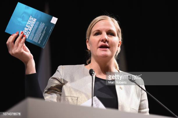 Chair IOC athelete's commission Kirsty Coventry addresses delegates during day two of the XXIII ANOC General Assembly Tokyo 2018 on November 29, 2018...