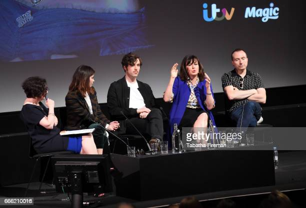 Chair Jane Garvey with Jenna Coleman Tom Hughes Daisy Goodwin and Damien Timmer speak onstage during the panel discussion 'The Unlacing of Victoria'...
