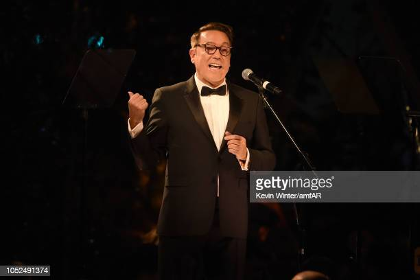 Chair Kevin Huvane speaks onstage at the amfAR Gala Los Angeles 2018 at Wallis Annenberg Center for the Performing Arts on October 18 2018 in Beverly...