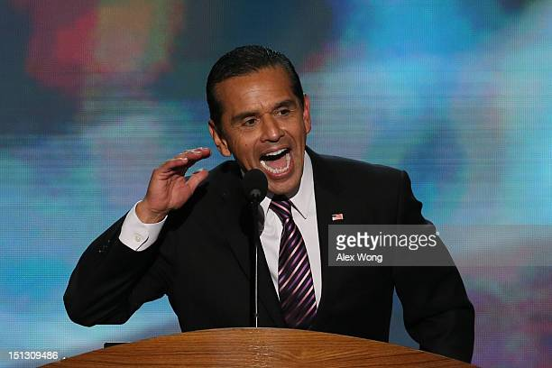 Chair Los Angeles Mayor Antonio Villaraigosa sets up the nomination process for roll call during day two of the Democratic National Convention at...