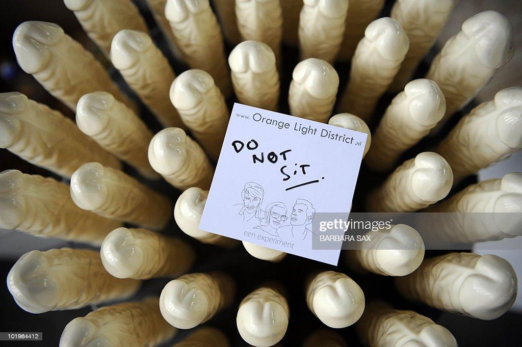 A chair made of dildos by Dutch design g : News Photo