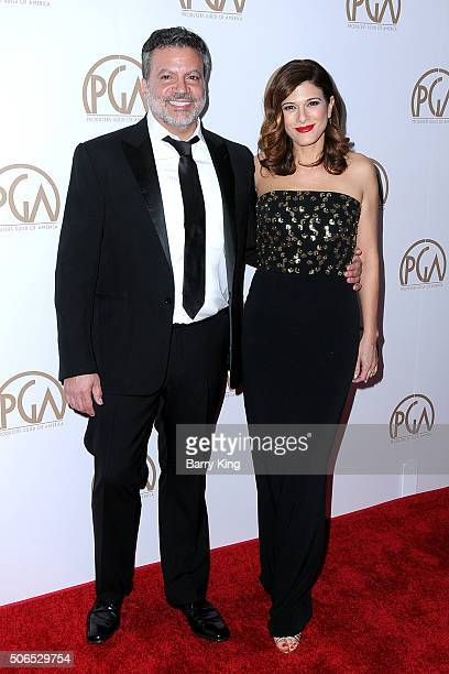 PGA Chair Michael De Luca and Angelique De Luca attend the 27th Annual Producers Guild Of America Awards at the Hyatt Regency Century Plaza on...