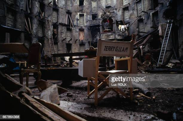 Chair of director Terry Gilliam on the set of his film The Aventures of Baron Munchausen at Cinecitta studios