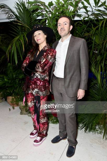 Chair of Faena Art Ximena Caminos and President and COO of Artsy Sebastian Cwilich attend the Gucci X Artsy dinner at Faena Hotel on December 6 2017...