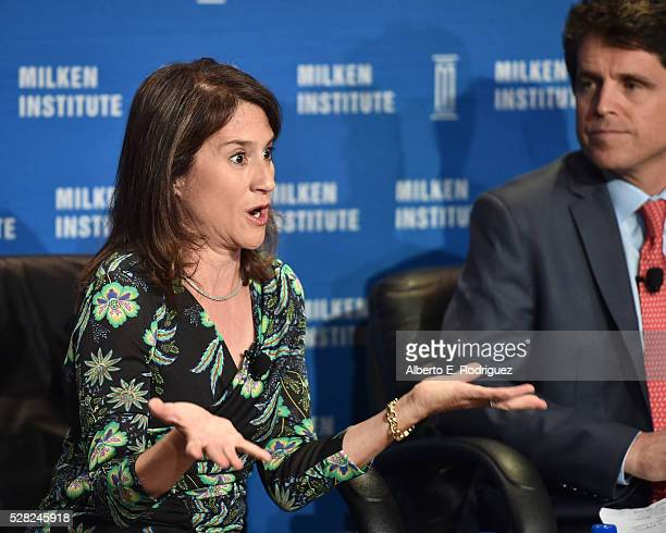 Chair of the board of the HeisingSimons Foundation Elizabeth Simons and President Save the Children Action Network Mark Shriver speak onstage at the...