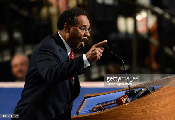 Chair of the Congressional Black Caucus US Rep Emanuel Cleaver II speaks during day two of the Democratic National Convention at Time Warner Cable...