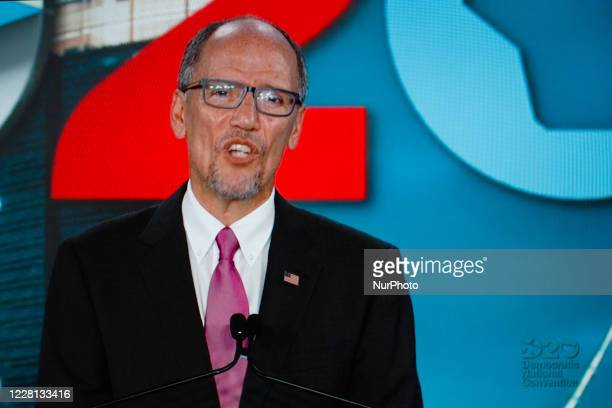 Chair of the Democratic National Committee Tom Perez addresses the virtual 2020 Democratic National Convention, livestreamed online and viewed by...