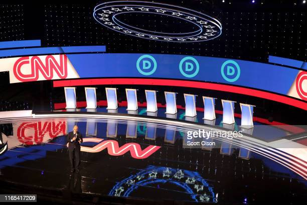 Chair of the Democratic National CommitteeTom Perez speaks to the audience attending the Democratic Presidential Debate at the Fox Theatre July 31...