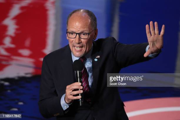 Chair of the Democratic National Committee Tom Perez speaks to the audience attending the Democratic Presidential Debate at the Fox Theatre July 31...