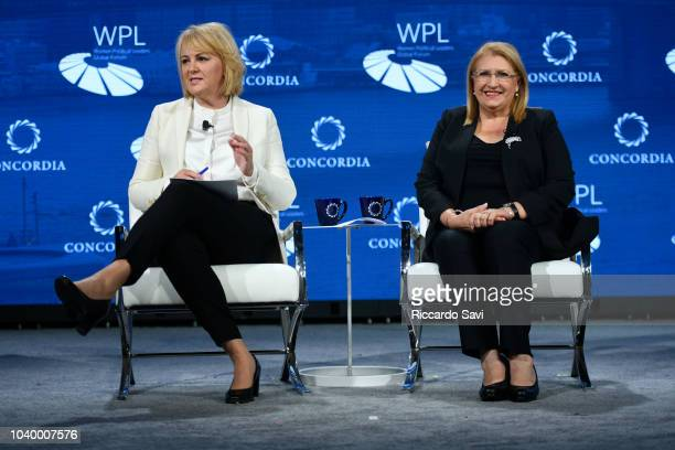 Chair of the Executive Board of the Women Political Leaders Global Forum Hanna Birna Kristjansdottir and President of Malta HE MarieLouise Coleiro...