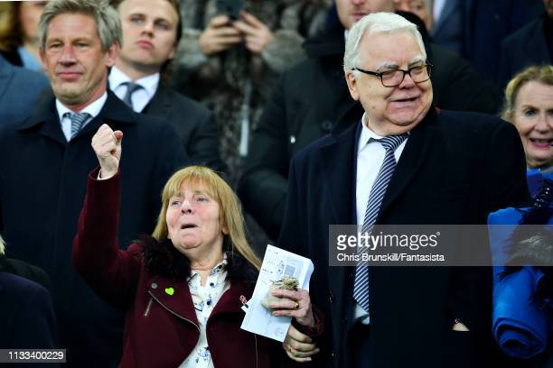 Chair of the Hillsborough Family Support Group Margaret Aspinall and Chairman of Everton FC Bill Kenwright attend the Premier League match between...
