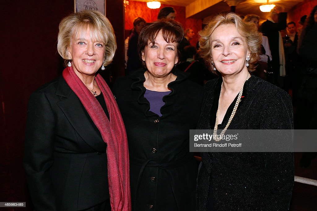 Chair of the Honorary Committee Alexandra El-Khoury, Honor President of the Evening, Roselyne bachelot Narquin and Organizer of the evening Myriam Feune de Colombi attend 'Un Temps De Chien' - Theater Gala Premiere to Benefit ARSEP Foundation. Held at Theatre Montparnasse on January 30, 2014 in Paris, France.