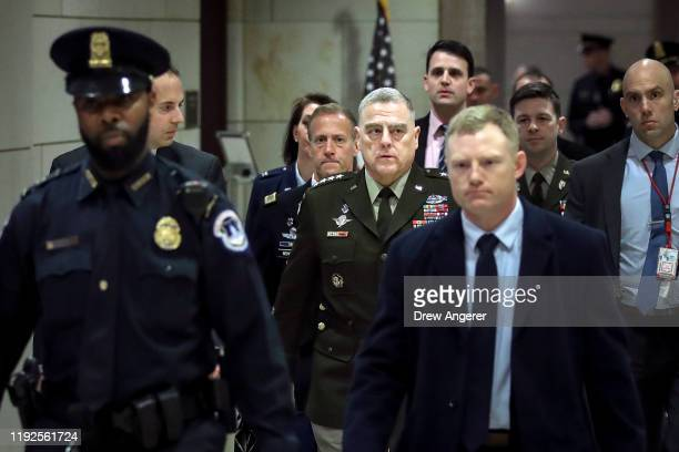 Chair of the Joint Chiefs of Staff Mark Milley departs briefing for members of the US House of Representatives about the situation with Iran at the...