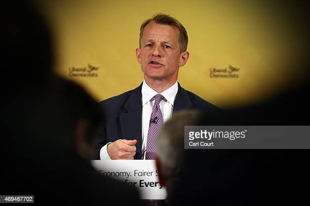 Chair of the Liberal Democrat Manifesto Group David Laws speaks during a press conference in which the Liberal Democrat's outlined their manifesto...
