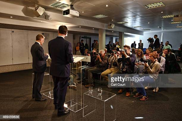 Chair of the Liberal Democrat Manifesto Group David Laws speaks as he outlines his party's manifesto expenditure during a press conference with party...