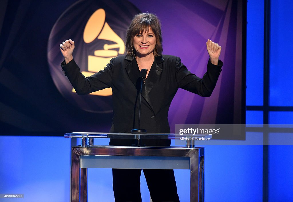 Chair of the National Board of Trustees of the Recording Academy Christine Albert speaks onstage at the Premiere Ceremony during The 57th Annual GRAMMY Awards at the Nokia Theatre L.A. LIVE on February 8, 2015 in Los Angeles, California.