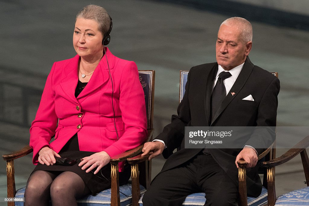 Chair of the Nobel Committee Kaci Kullmann Five and Nobel Peace Prize Laureate 2015 Houcine Abbassi look on during the Nobel Peace Prize ceremony at Oslo City Town Hall on December 10, 2015 in Oslo, Norway.