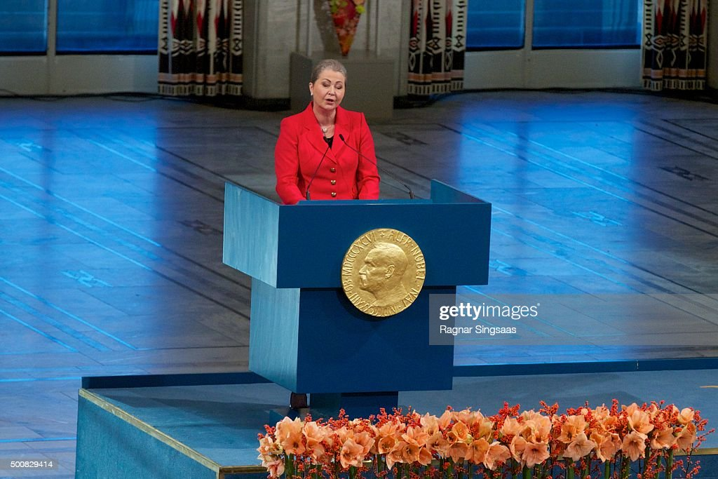 Chair of the Nobel Committee Kaci Kullmann Five speaks during the Nobel Peace Prize ceremony at Oslo City Town Hall on December 10, 2015 in Oslo, Norway.