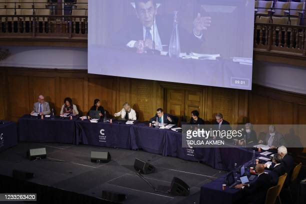 """Chair of the panel Geoffrey Nice gives the opening address on the first day of hearings at the """"Uyghur Tribunal"""", a panel of UK-based lawyers and..."""