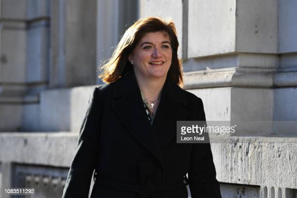 Chair of the Treasury Select Committee Nicky Morgan MP arrives at the cabinet office on January 17 2019 in London England After defeating a vote of...