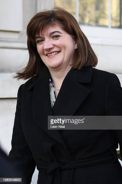 Chair of the Treasury Select Committee Nicky Morgan MP leaves the cabinet office on January 17 2019 in London England After defeating a vote of no...