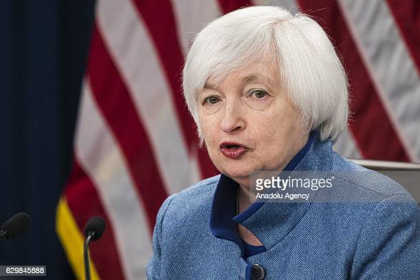 Chair of the US's Federal Reserve Janet Yellen sa press conference at the Board of Governors in Washington USA on December 14 2016