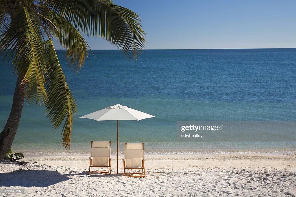 chair on Florida Keys beach : Stock Photo