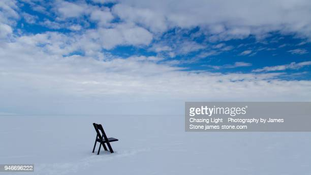 chair on the ice shelf - ross ice shelf stock photos and pictures