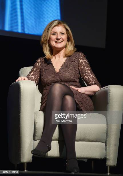 Chair President and EditorinChief of the Huffington Post Arianna Huffington speaks at The 9th Annual Edward R Murrow Forum on Issues in Journalism at...