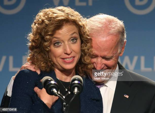 Chair Rep Debbie Wasserman Schultz introduces Vice President Joseph Biden during the Democratic National Committee's Women's Leadership Forum...