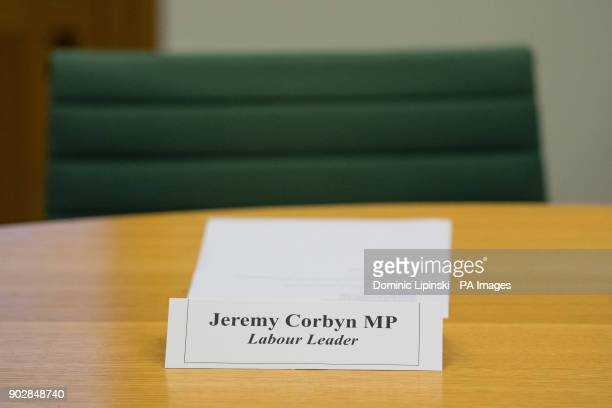A chair reserved for Labour Leader Jeremy Corbyn at a crossparty summit with the Westminster Leader of the SNP and leaders of the Liberal Democrats...