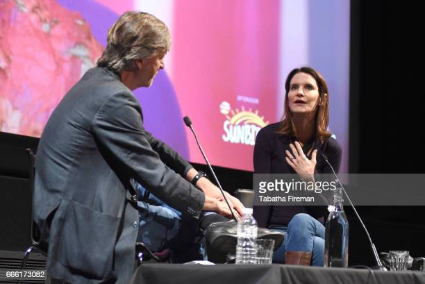Chair Richard Madeley and Susie Dent speak on stage during the discussion My Life in Words at the BFI Radio Times TV Festival at the BFI Southbank on...