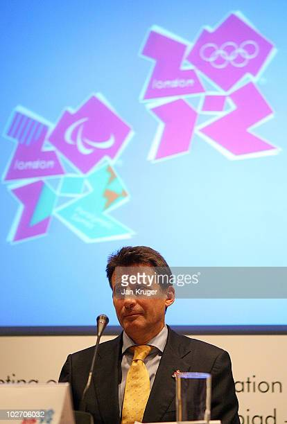 Chair Sebastian Coe answers questions from the press during the IOC London2012 Visit Closing Press Conference in Northcliffe House on July 8 2010 in...