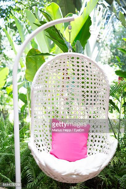 Chair Swing With Pink Cushion In Lawn