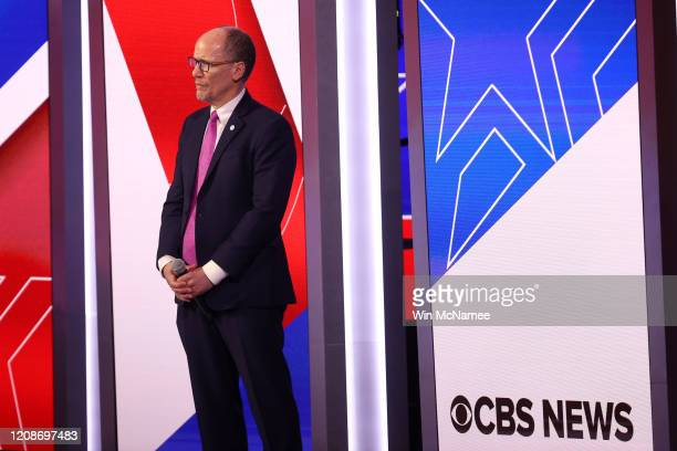 DNC chair Tom Perez stands on stage before the Democratic presidential primary debate at the Charleston Gaillard Center on February 25 2020 in...