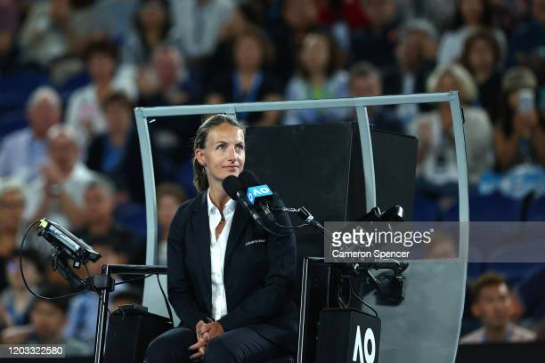 Chair umpire Eva Asderaki during the Women's SinglesFinal match between Sofia Kenin of the United States and Garbine Muguruza of Spain on day...