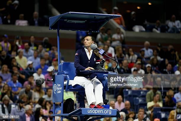 Chair Umpire Eva AsderakiMoore looks on during the Men's Singles Final match between Roger Federer of Switzerland and Novak Djokovic of Serbia on Day...