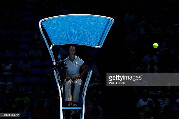 Chair Umpire Eva AsderakiMoore watches the ball in the womens singles match between Heather Watson of Great Britain and Kristina Mladenovic of France...
