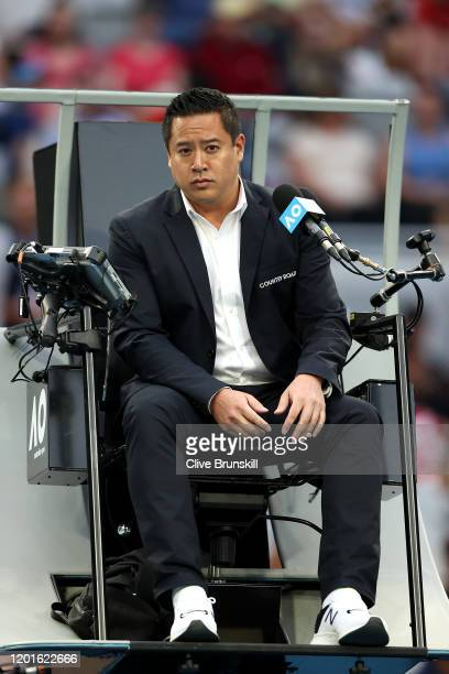 Chair umpire James Keothavong looks on during the Men's Singles third round match between Fabio Fognini of Italy and Guido Pella of Argentina on day...