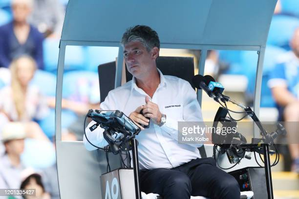 Chair umpire John Blom on Margaret Court Arena during the Men's Singles second round match between Daniil Medvedev of Russia and Pedro Martinez of...