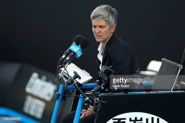 Chair Umpire Marija Cicak looks on 1573 Arena during the Mixed Doubles first round match between Storm Sanders and Marc Polmans of Australia and...