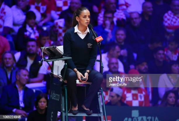 Chair umpire Marijana Veljovic during day 3 of the 2018 Davis Cup final between France and Croatia at Stade Pierre Mauroy on November 25 2018 in...