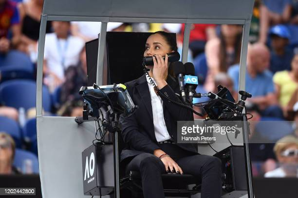 Chair umpire Marijana Veljovic during the Men's Singles Quarterfinal match between Tennys Sandgren of the United States and Roger Federer of...