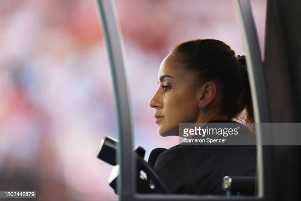 Chair umpire Marijana Veljovic looks on during the Men's Singles Quarterfinal match between Tennys Sandgren of the United States and Roger Federer of...