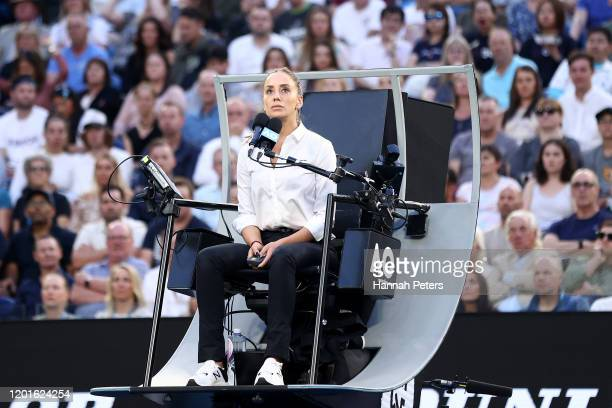 Chair Umpire Marijana Veljovic looks on during the Women's Singles third round match between Coco Gauff of the United States and Naomi Osaka of Japan...
