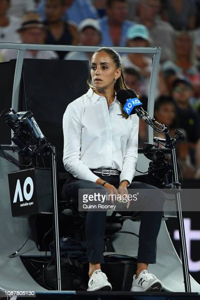 Chair umpire Marijana Veljovic looks on in the Women's Semi Final match between Naomi Osaka of Japan and Karolina Pliskova of Czech Republic during...
